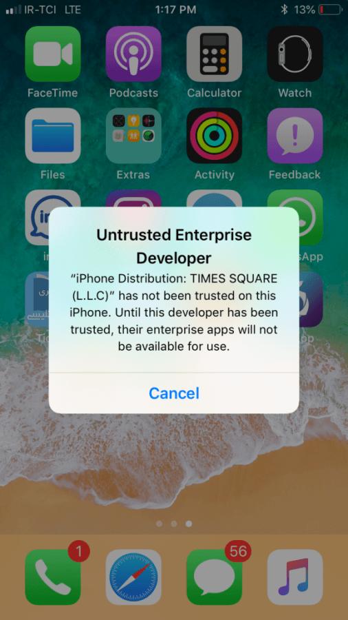 حل مشکل Untrusted Enterprise Developer در سیستم عامل IOS بعد از نصب برنامه